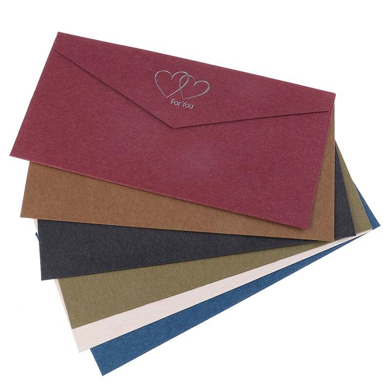 1Pc Envelope Vintage Hot Stamping Printing Kraft Paper Envelopes School Supplies Envelope for Wedding Letter Invitation 6 Colors