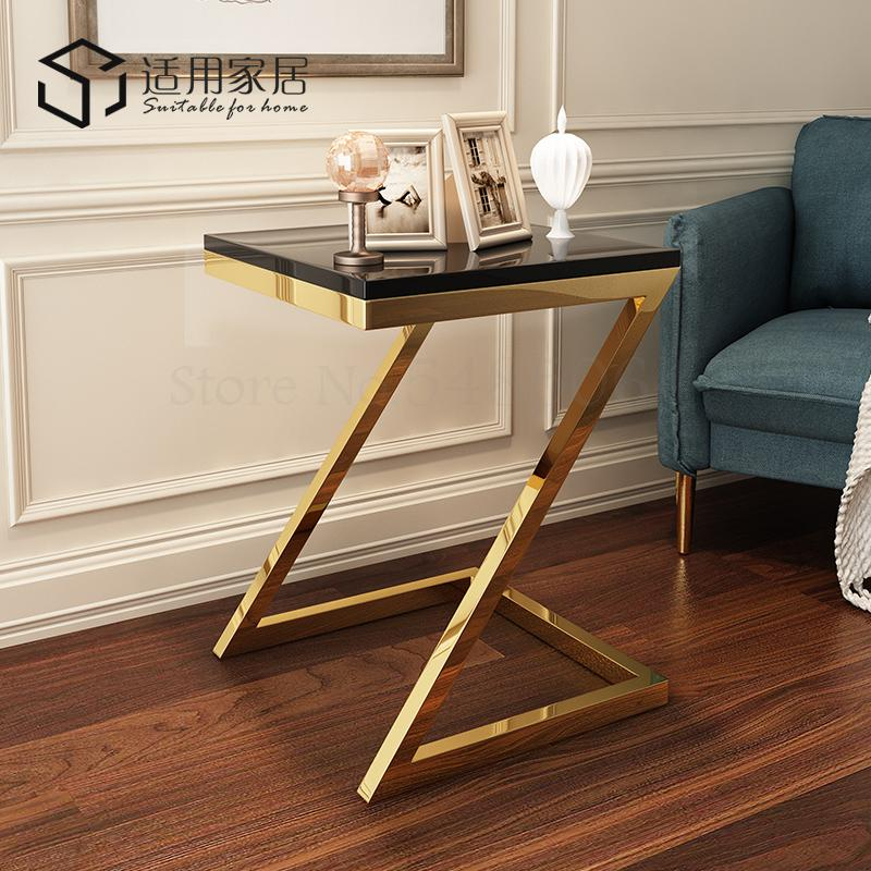 Post-modern Minimalist Small Coffee Table Living Room Sofa Corner Corner Modern Small Coffee Table Stainless Steel Light Luxury