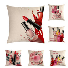 45cm*45cm Hand Painted Flowers Lipstick Bottles Cushion Cover and Sofa Pillow Case Home Decorative Pillow Cover ZY833(China)