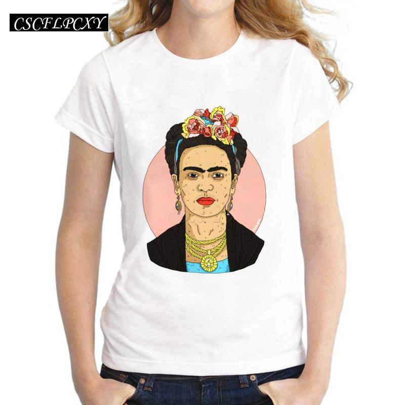 Asian-Size-Frida-Kahlo-simple-drawing-women-t-shirt-Frida-Fest-printed-short-sleeve-casual-lady (2)