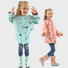 Raincoat Kids Jacket Baby-Girls Children Waterproof Outdoor Unicorn Cartoon Polyester