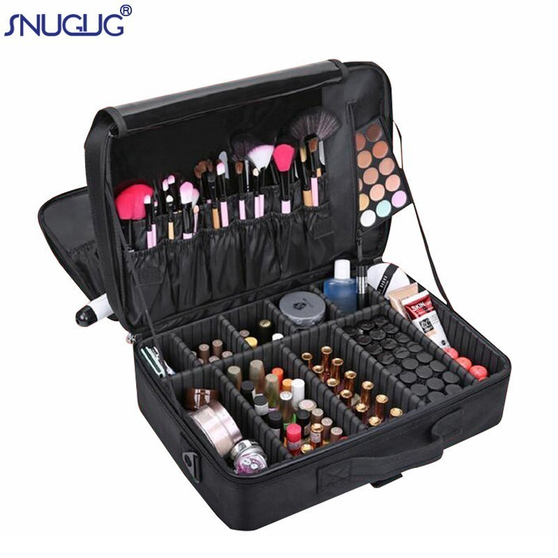 Brand Female High Quality Professional Makeup Organizer Bolso Mujer Cosmetic Bag Large Capacity Storage case Multilayer Suitcase title=