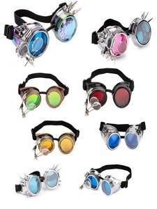 FLORATA Steampunk Goggles Rivet Different-Lens Glasses Unisex Rainbow Cosplay Eyewear