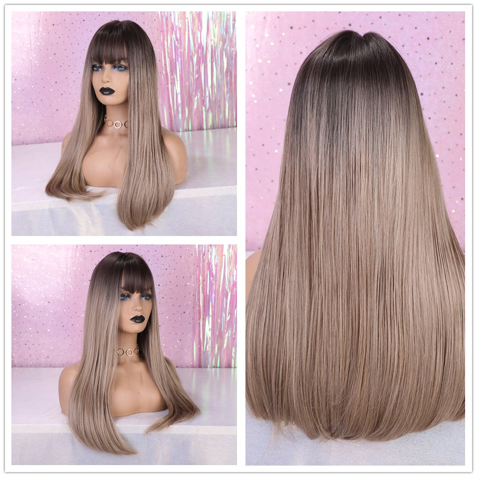 EASIHAIR Long Black Straight Wigs with Bangs Synthetic Wigs for Black Women Cosplay Wigs High Temperature Fiber Hair Wig