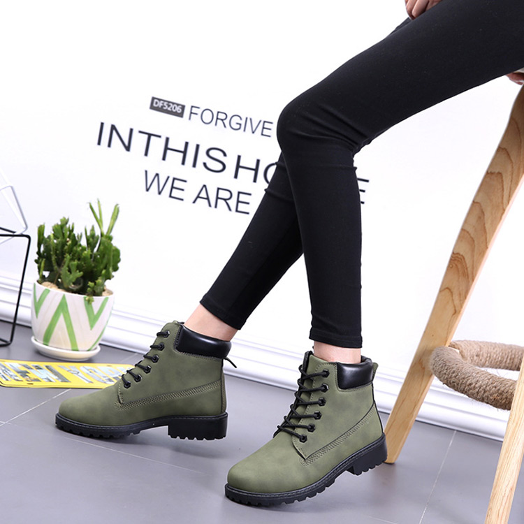 Winter boots women shoes 2019 fashion solid flats sneakers women snow boots women lace-up winter ankle boots casual shoes woman (6)