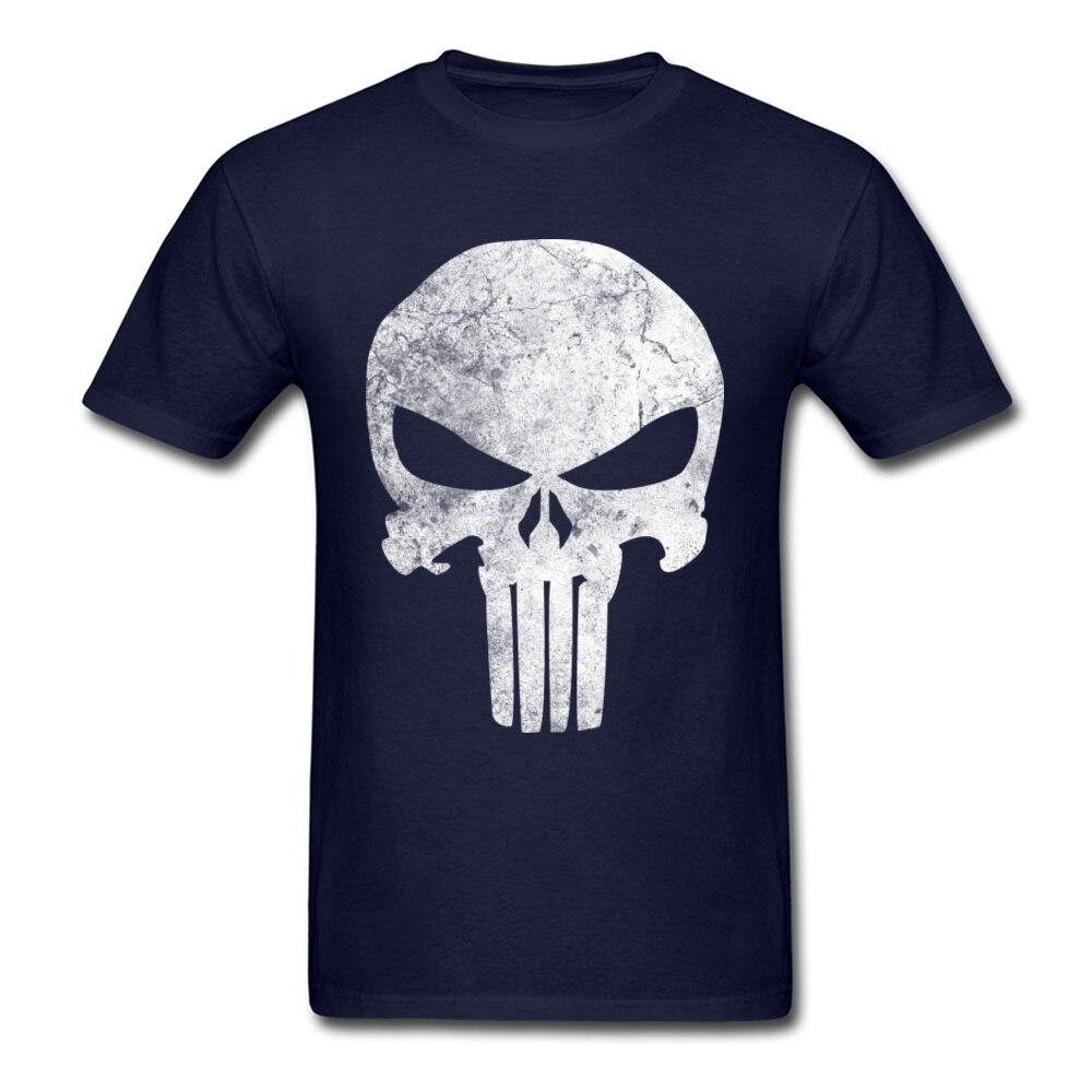 Slim Fit Men T-Shirt Punisher_Skull_Grunge_97 Print T Shirt Cotton Short Sleeve Printed On Tee-Shirt Crewneck Free Shipping Punisher_Skull_Grunge_97 navy