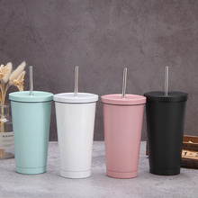 500ml Mug Beer-Mugs Metal-Cup Drink-Straw Stainless-Steel with Lid