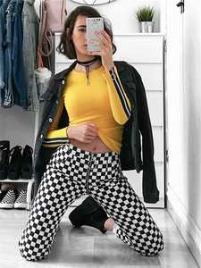 Instahot Straight-Pants Pantalon Checkered Pencil Plaid Zipper Black White Femme Fashion