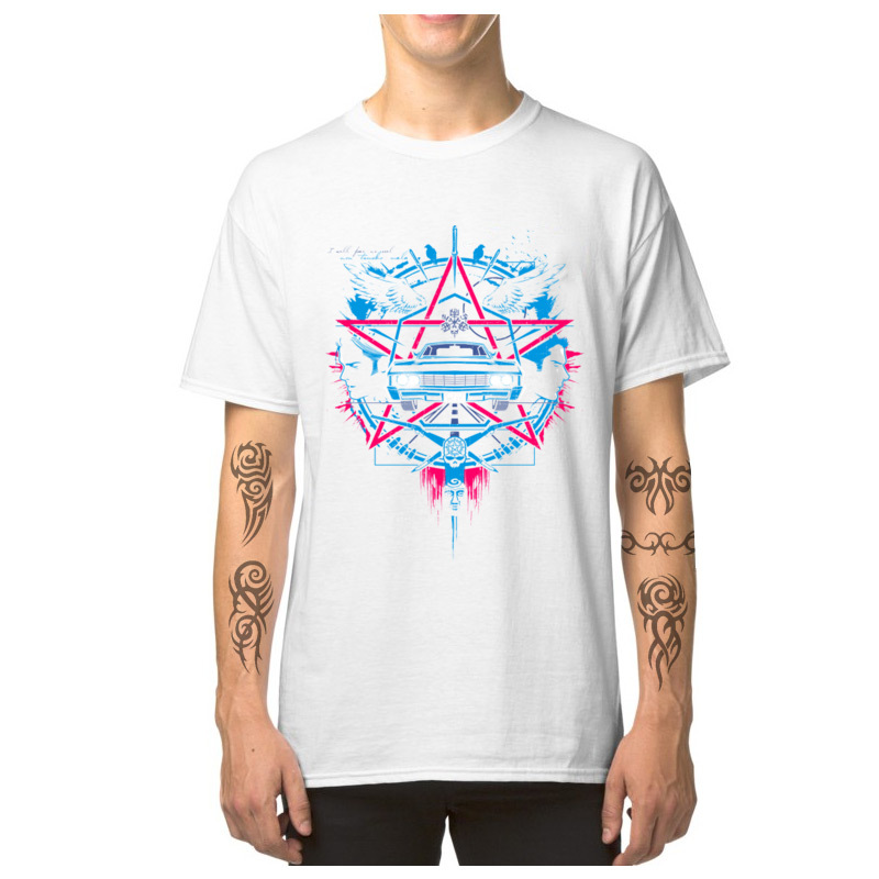 Car_Logo_-_Supernatural_3493 Casual T-Shirt for Male 100% Cotton Summer Fall Tops Shirts Tops Shirts 2018 Newest Round Neck Car_Logo_-_Supernatural_3493 white