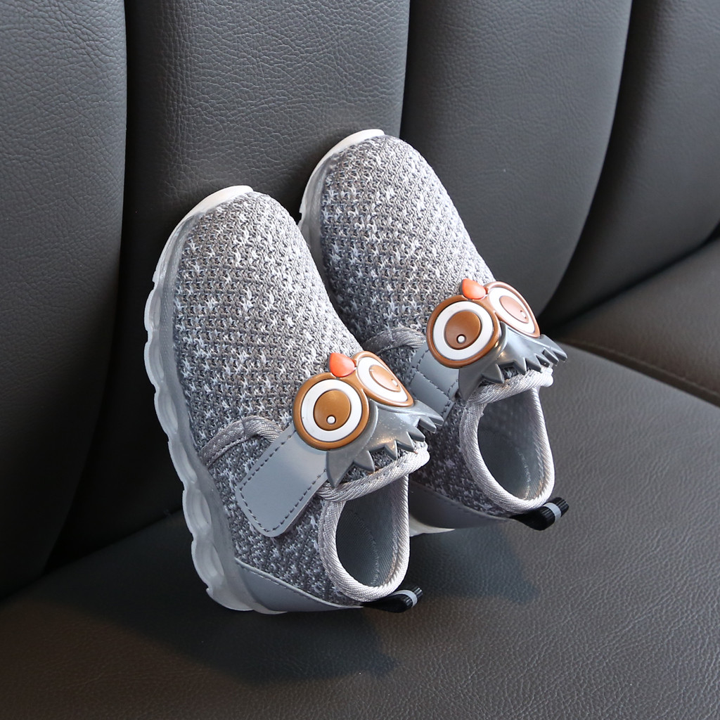 Cushion - Children's Luminous Shoes Infant Toddler Baby Girls Boys Breathable Mesh Cute Cartoon LED Luminous Sport Shoes Sneakers 6M-4Y