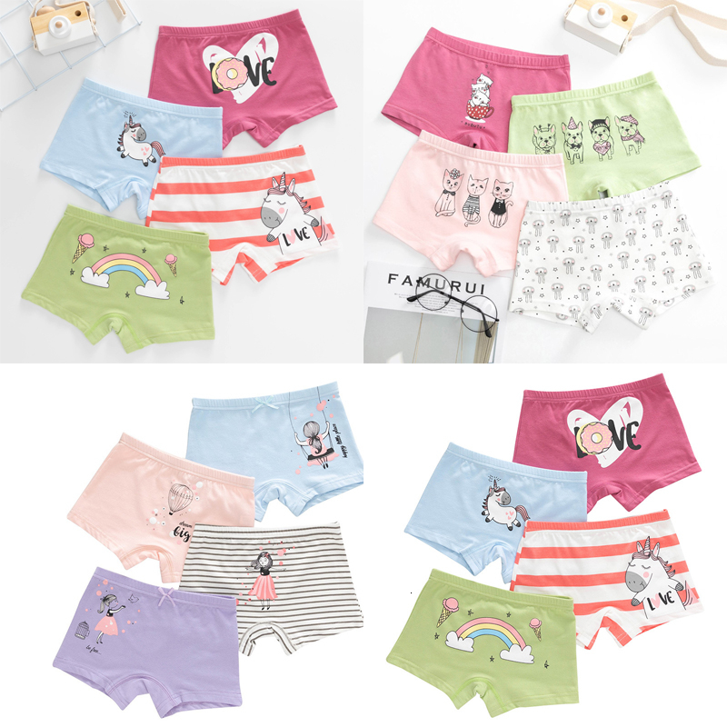 4 Pack Girls Briefs Boxers Underwear Cotton Knickers Pants Size Age 2-11 Years