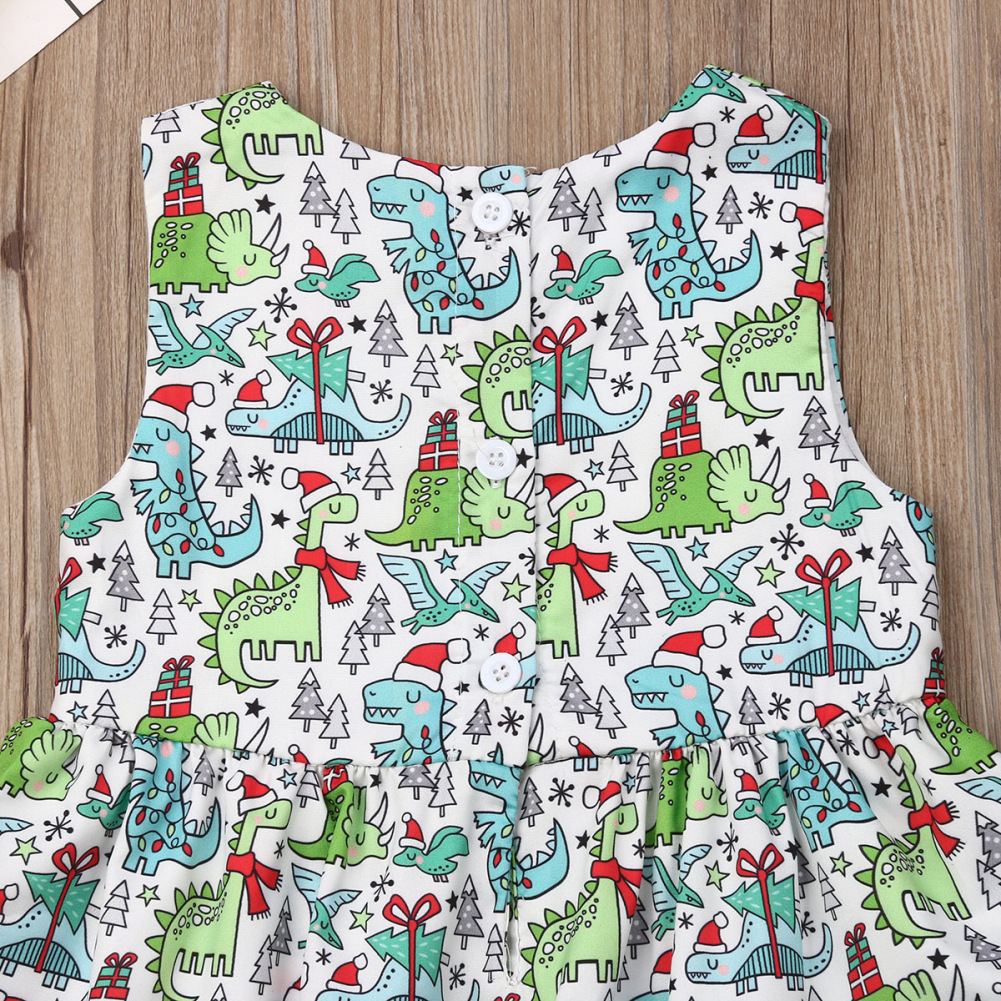 Baby Girls Allover Cartoon Dinosaur Graphic Smock Dress Toddler Girls