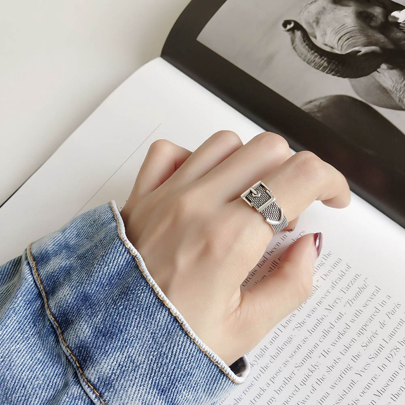 Punk Chain Cross Open Rings Belt Buckle Design Finger Rings for Women men Party Jewelry Gifts