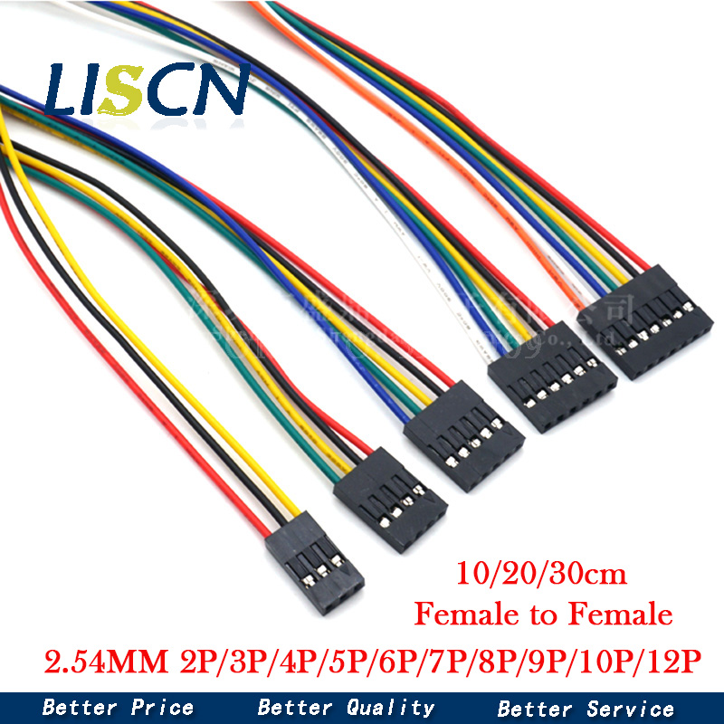 5PCS 2.54MM 2.54 Wire Dupont Line female to female 1P2 3 4 5 6 7 8 9 10 12 Pin Dupont cable connector JUMPER CABLE WIRE FOR PCB
