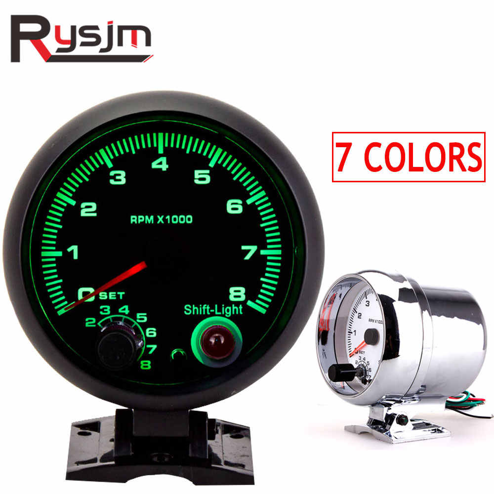 95MM Auto tachometer boat Universal 0-8000 RPM meter Gauge with inter shift light 7 Color Racing Meter tacometro moto motorcycle