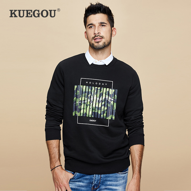 Kuegou Brand new winter 2020 men sweatshirts male round collar pullover camouflage printed hoodie leisure boom CW-3253