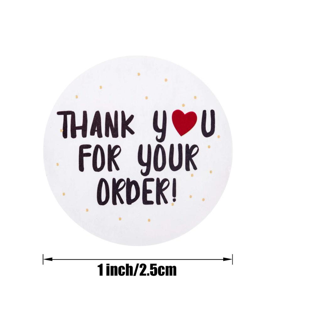 200pcs round thank you for your order sticker Heart Thanks for Shopping stationery Handmade sticker white/gold labels sticker