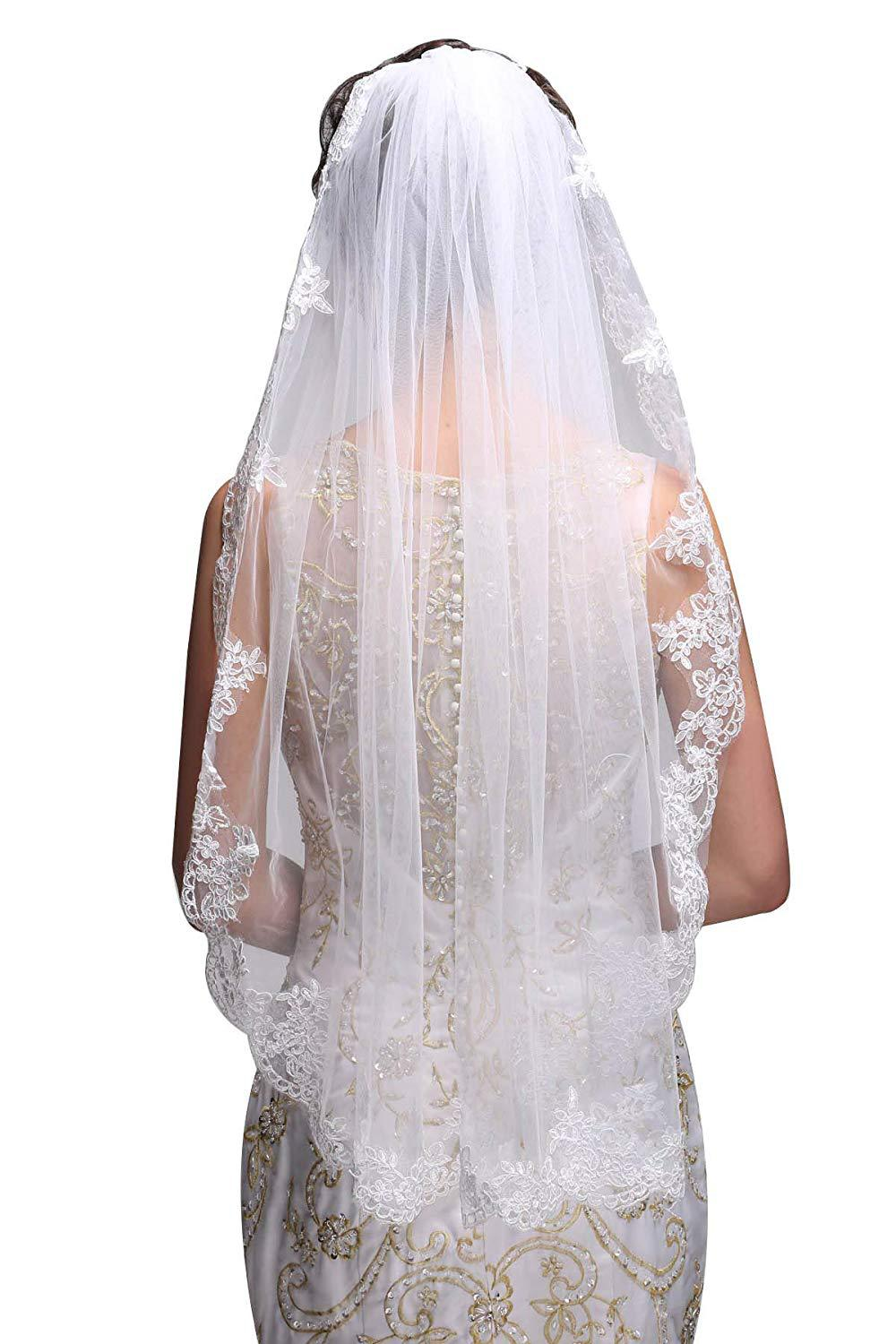White/Ivory Wedding Veil Short Bridal Veil Head Veil Wedding Accessories 2021