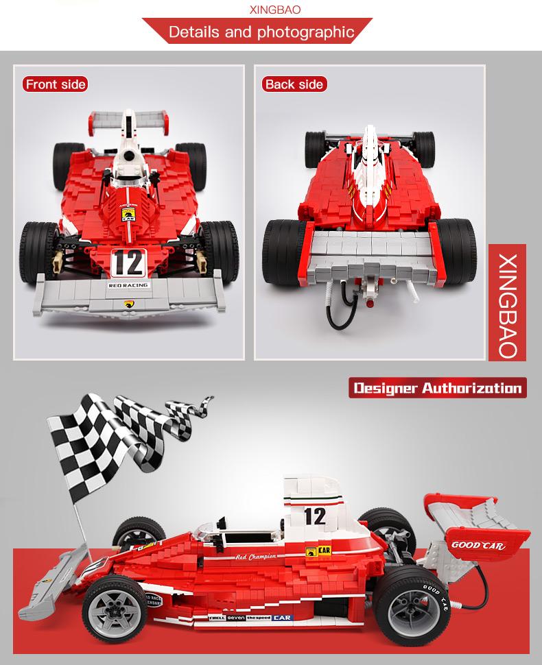XingBao XB-03023 Red Power Racing Car Ferrariii 312T Building Block 25