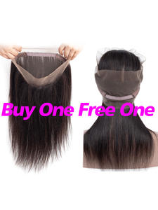 Hair-360 Lace-Frontal Black Peruvian Straight with Baby-Hair Natural-Color for Women