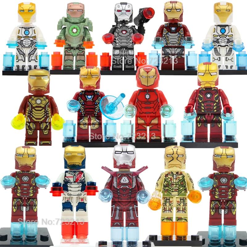 8PCS Tony Stark Super Hero Chromed Armor Ironman Building Blocks Bricks DIY Toys