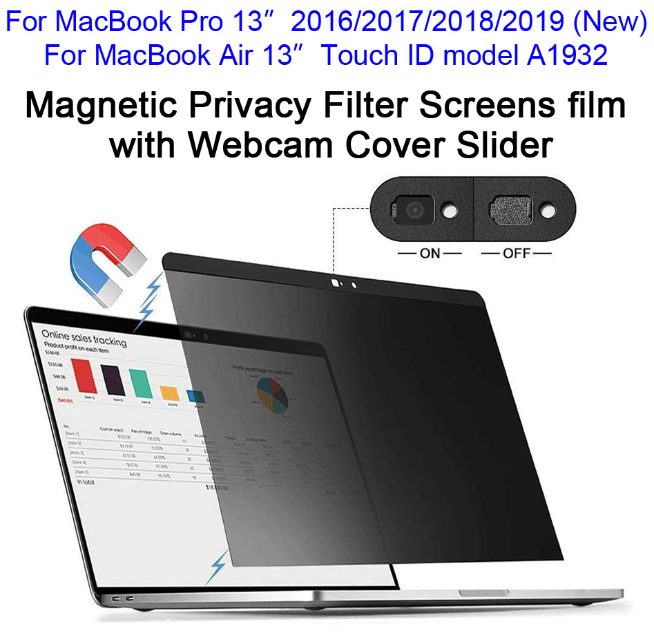 """Magnetic Privacy Filter Screens film with Webcam Cover Slider For 2016/2017/2018/2019 New MacBook Pro 13, Touch ID Air 13"""" A1932"""