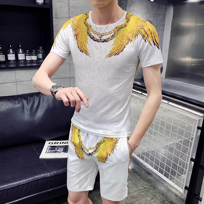 Summer T-shirt+Shorts Set Men Hip Hop Short Sleeve Shorts Sweatsuit Men/'s Sportswear Eagle Print Social Night Club Sweat Suit