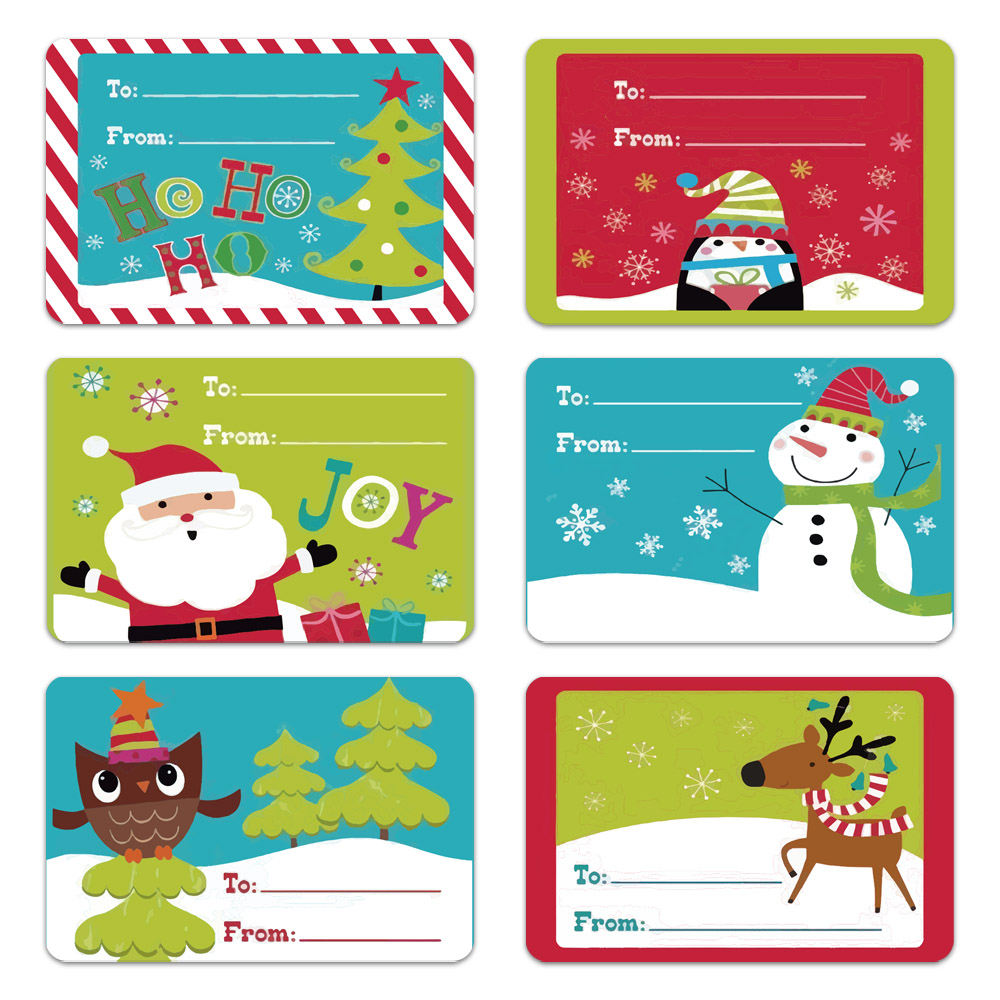250pcs/roll 6 Designs Adhesive Christmas Gift Name Tags XMAS Stickers Present Seal Labels Christmas Decals Gift Package