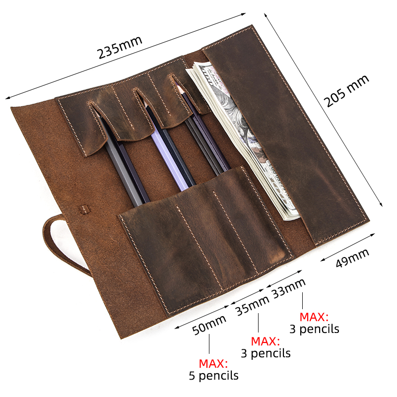 Genuine Leather Retro Luxury Pencil Cases Roll Pen Bag Storage Pouch For Stationery School Supplies Makeup Cosmetic Bag Holder
