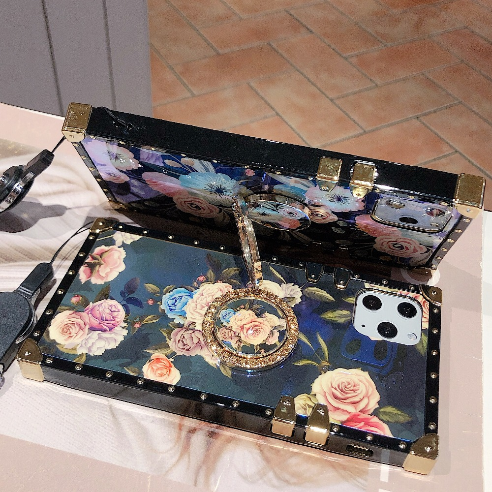 For Samsung Note10 Plus Note9 8 S10 Plus S10e S8 S9 A70 A50 A20 A30 M30 M20 Case Square Diamond Stand Blue Ray Rose Flower Cover (4)