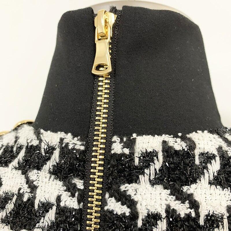 Wysokiej jakości Runway 2019 stylowa designerska sukienka damska guziki z lwem Shimmer Tweed Houndstooth Dress -