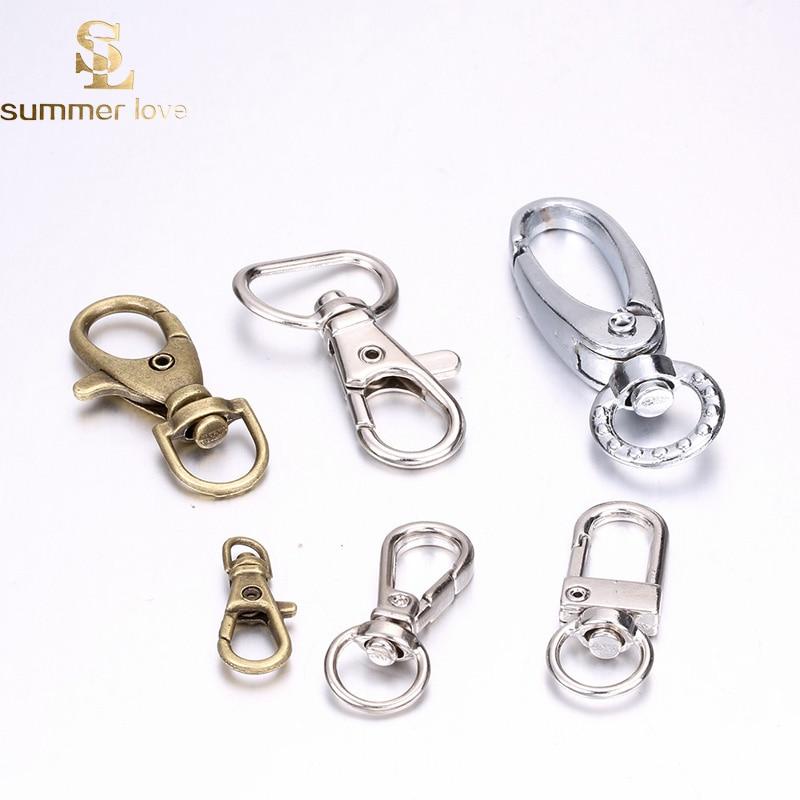 Gold Lobster Clasps Clip Hook Snap Swivel Keychain Key Ring Backpack Split Rings