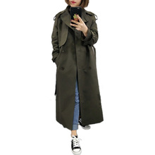 Classic Trench-Coat Windbreaker Belt Chic Female Long Double-Breasted Casual Fall/autumn