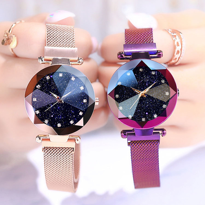 Luxury Starry Sky Stainless Steel Mesh Bracelet Watches For Women Crystal Analog Quartz title=