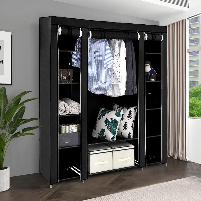 Cabinet Bedroom Furniture Wardrobe Fold Portable Storage Non-Woven 3-Door 175CM Quarter title=