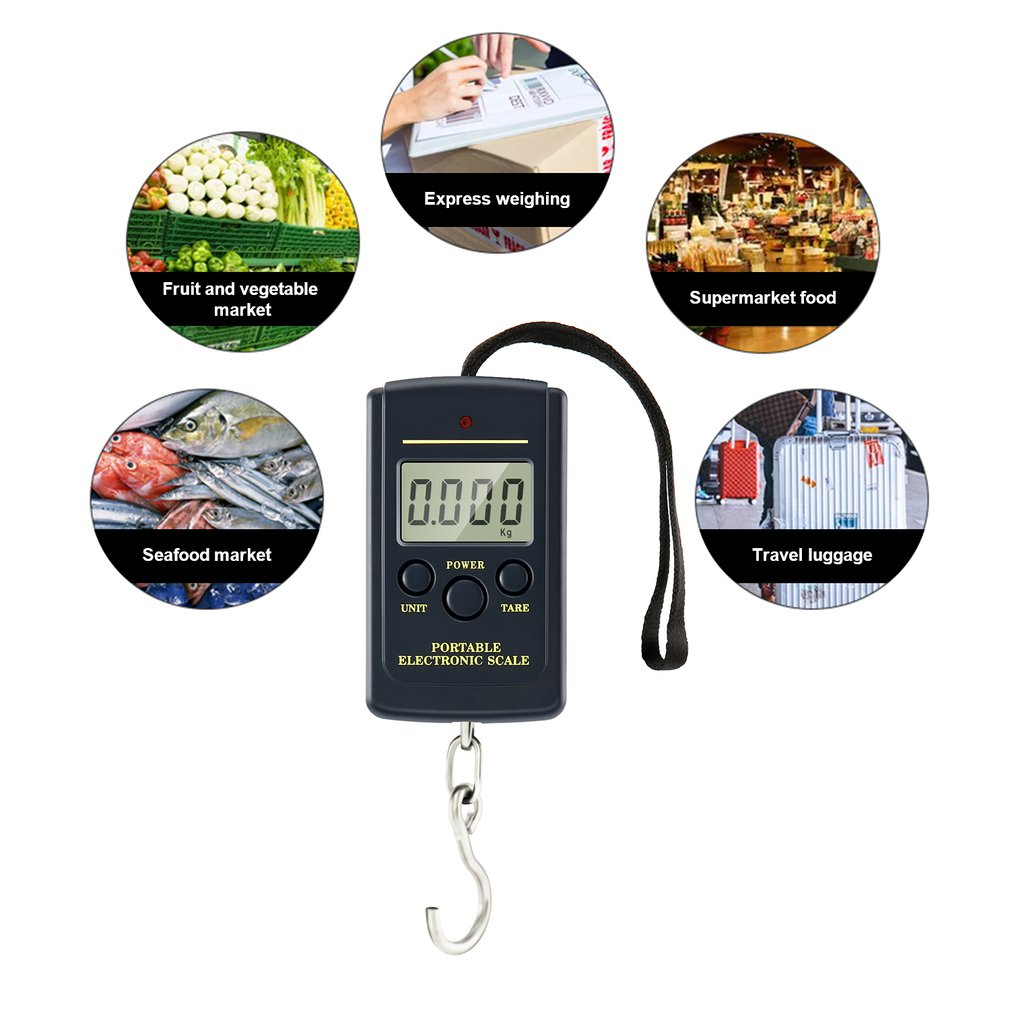 Free shiping   40kg/10g LCD Digital Scales Luggage Scale Load 40Kg LCD Mini Portable  Scales