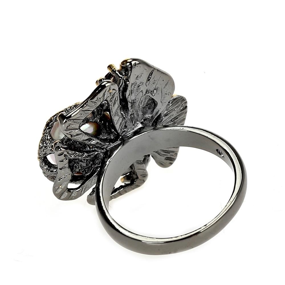 WA11637 pearl flower ring women vintage gothic stone jewelry (5)