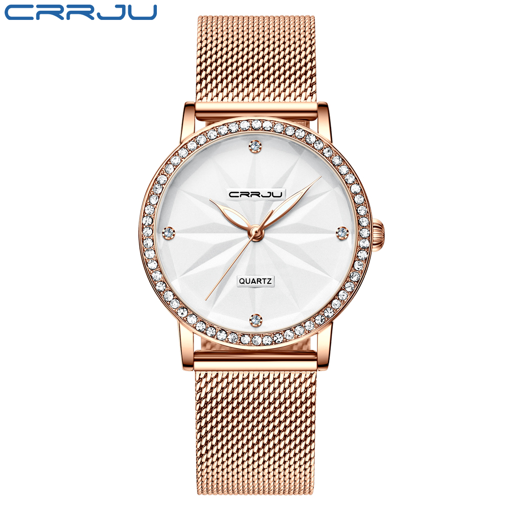 Watches for Women CRRJU Fashion Luxury Diamond Watch Ladies Dress Flower Quartz Waterproof Gift Wristwatch relogio feminino