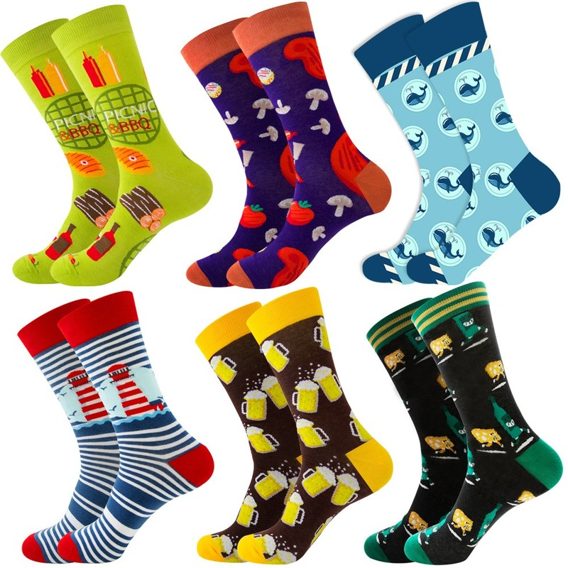 6 Pairs 6 Color Combination Animal Fruit Hip Hop Socks Men Cotton Food Geometry Pattern Men Socks Cartoon Gifts for Men EUR38-46