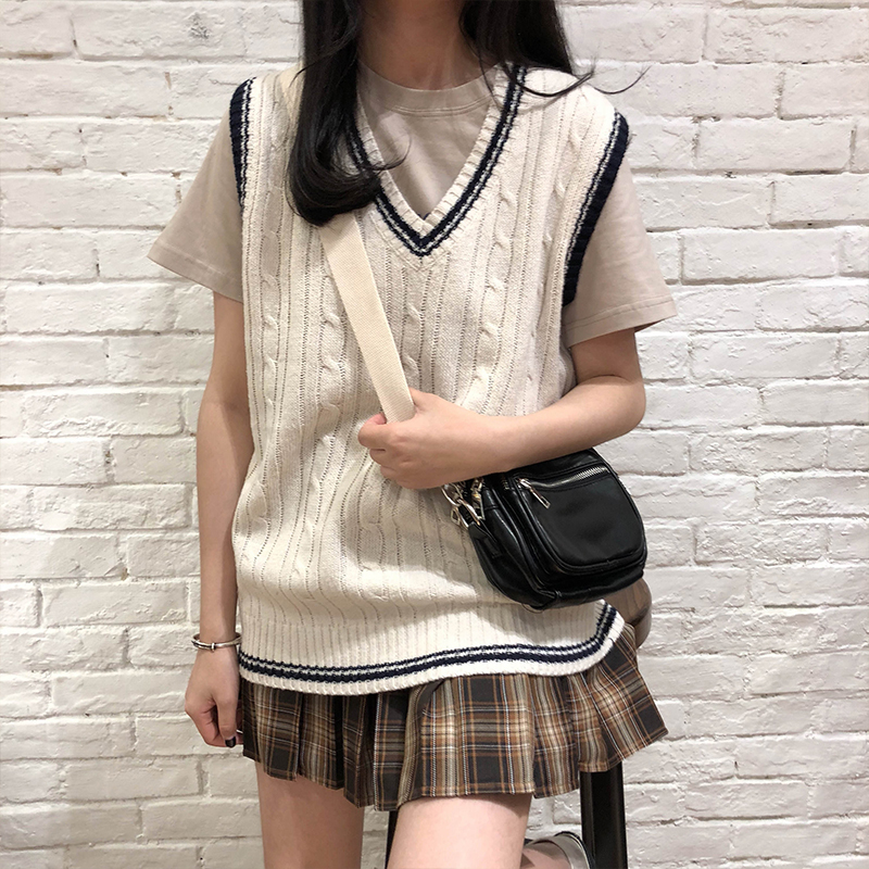 3 colors 2019 autumn and winter preppy style v neck knitted sleeveless vest sweaters womens pullovers womens (X973)