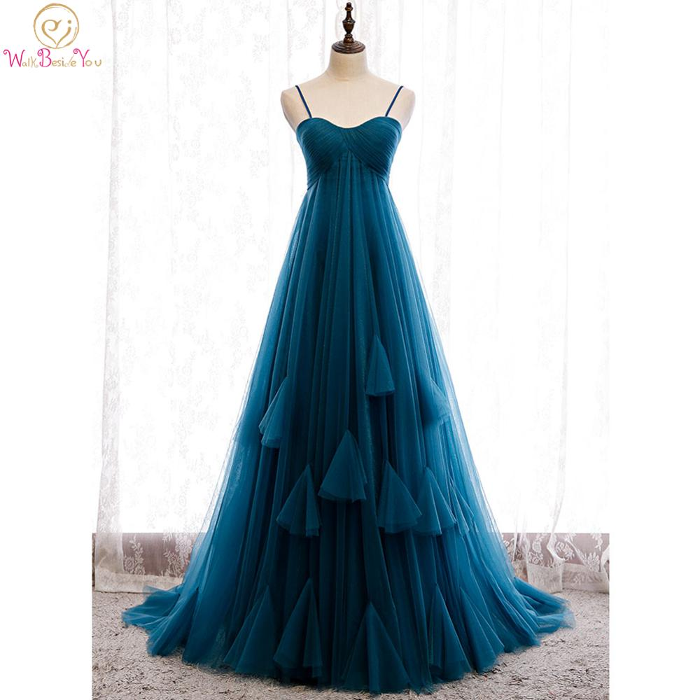 Navy Blue Evening Dresses Empire Waist Pregnant Tulle Sweetheart Spaghetti Strap Pleats Zipper Sweep Train Women Party Prom Gown