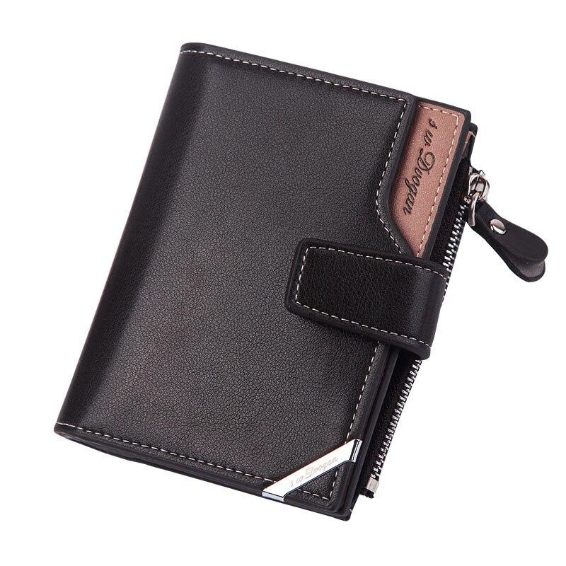 Новый деловой мужской кошелек, короткий вертикальный мужской кошелек, повседневный многофункциональный кошелек с держателем для карт, складной Треугольник на молнии с пряжкой