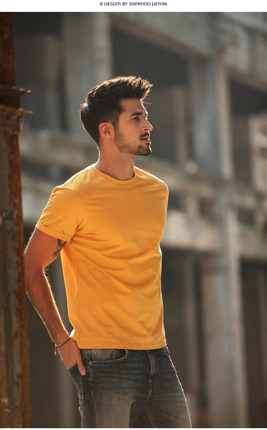 SIMWOOD 19 Summer New T-Shirt Men 100% Cotton Solid Color Casual t shirt Basics O-neck High Quality Plus Size Male Tee 190004 5