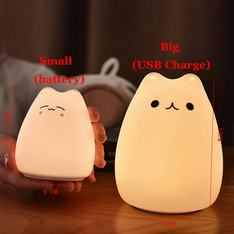 Cute LED Night Light Silicone Touch Sensor 7 Colors Cat Night Lamp Kids Baby Bedroom Desktop Decor Battery/USB Charge-04