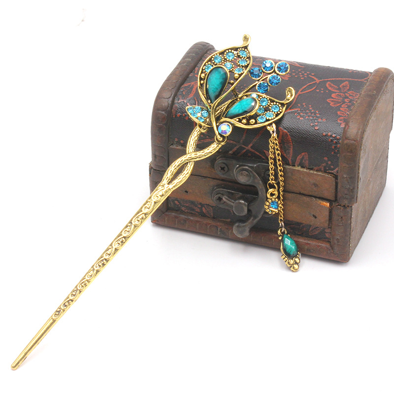Hot Vintage Faux Pearl Rhinestone Peacock Tassel Hair Stick Pin Glasp Hairpiece