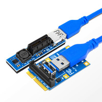 Mini PCI-E к PCI-E X1 Riser Card PCI Express X1 слот двойной SATA разъем питания 60 см USB 3,0 кабель удлинитель порт адаптер Raiser