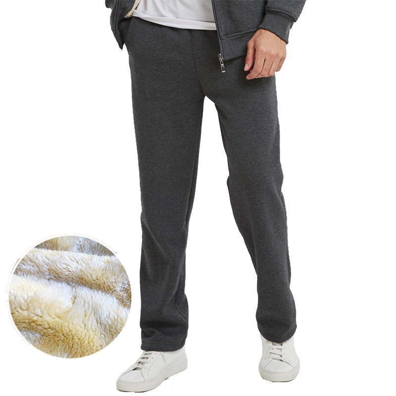 Best Seller high quality men's casual winter plus velvet pants men's sports running With Phone Pocket pants title=