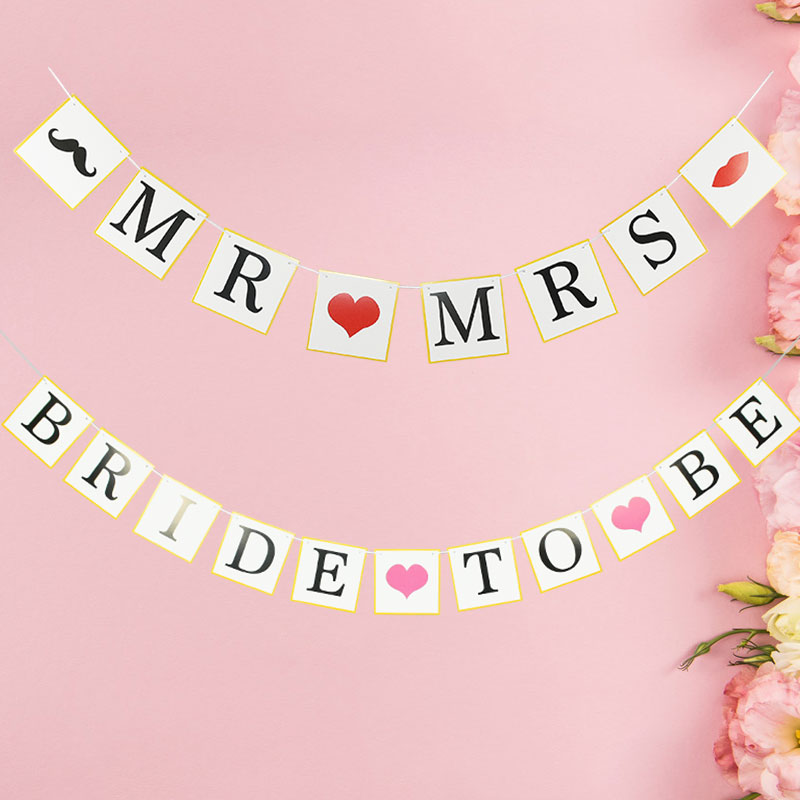 1pc Mr&Mrs Bride To Be Banner Wall Hanging Paper Garland Bridal Shower Bachelorette Engagement Wedding Party Decoration Supplies