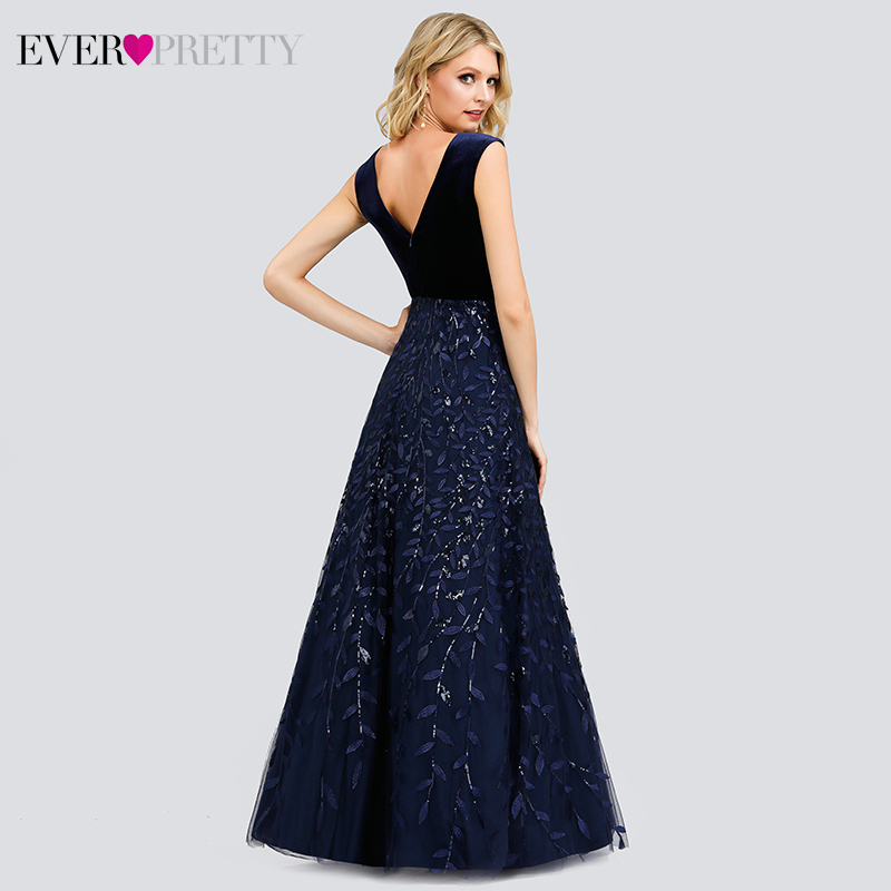 Sexy Sequined Evening Dresses Long Ever Pretty EP00851NB A-Line Double V-Neck Velour Formal Evening Gowns Vestidos Largos Fiesta