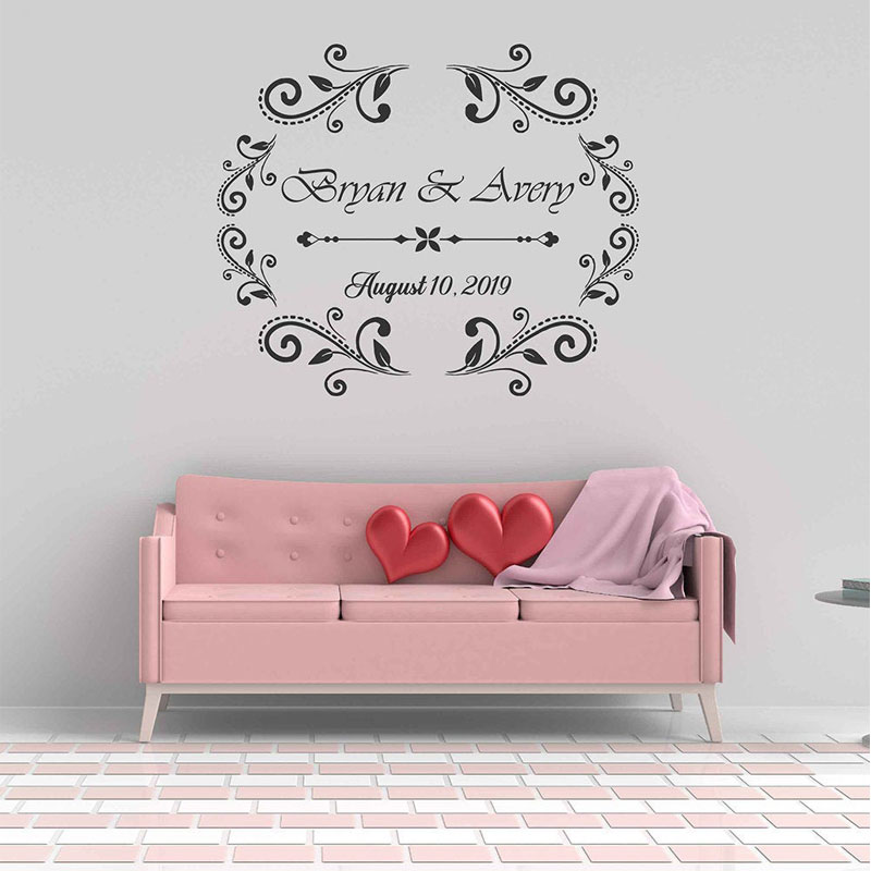 Wedding Party Monogram Decal Vinyl Wall Sticker Personalized Wedding Aisle Runner Table Runners Floor Decal Removable Mural WD47